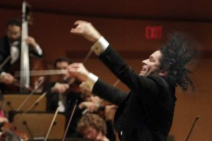 Gustavo Dudamel conducting the LA Philharmonic at Walt Disney Concert Hall. Credit: Lawrence K. Ho / Los Angeles Times