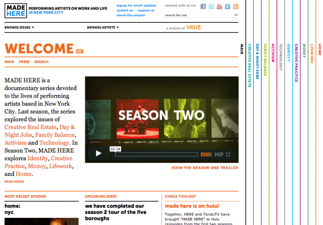 A view of HERE's MADE HERE website, featuring