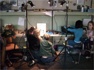 Students from Highlands School in Edina, MN, explore stage lighting techniques.