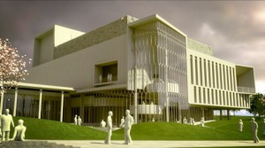 A rendering of the Center for the Arts at Virginia Tech