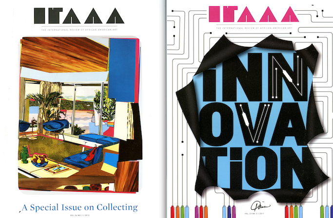 Covers of Hampton University Museum's International Review of African American Art (IRAAA) print journal.