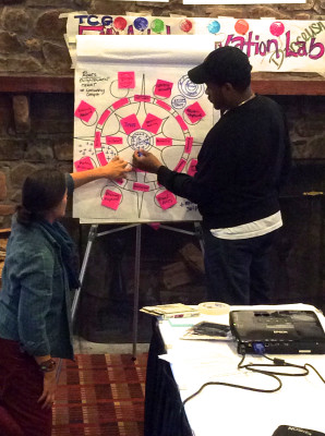 Ariston and fellow ROOTS team member Carrie Brunk work on one of the illustration drafts during the retreat. Image: Shannon Turner, Alternate ROOTS.