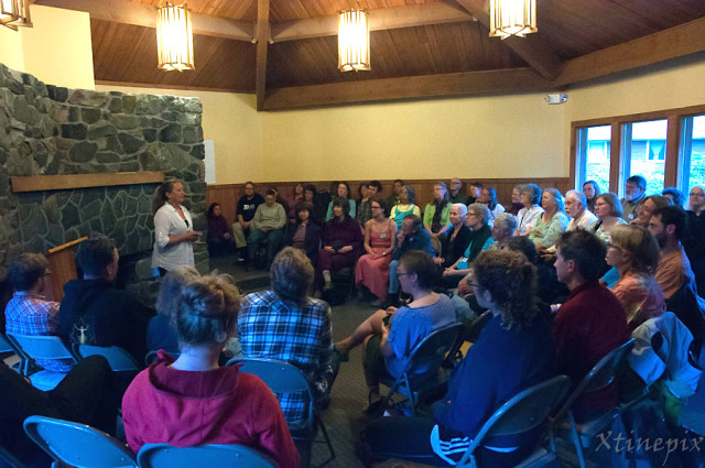 Guest faculty member Molly Sturges leads an exercise at this year's Sitka Symposium. Photo by